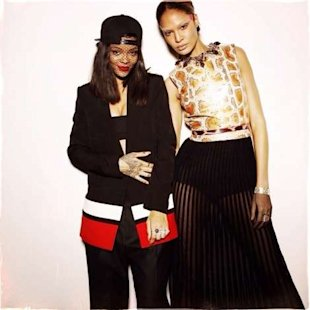 Rihanna and Joan Smalls at Givenchy.