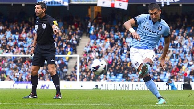 Aleksandar Kolarov scores for Manchester City against Sunderland, October 2012