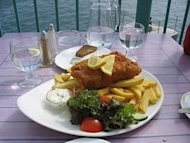 Fish and chips, ever-popular, served throughout England