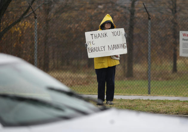 A demonstrator holds a sign in support of Army Pfc. Bradley Manning outside of Fort Meade, Md., Tuesday, Nov. 27, 2012, where Manning is scheduled to appear for a pretrial hearing. Manning is accused