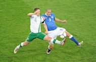 Giorgio Chiellini (right) will miss Italy's quarter-final clash with England on Sunday