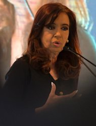 Argentina's President Cristina Fernandez de Kirchner delivers a speech in Montevideo on August 27, 2013
