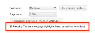 Under the Hood Preferences in Google Chrome