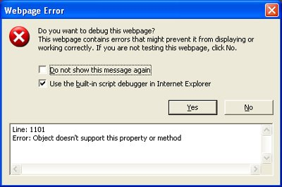 IE Webpage Error message with Use the Built-in Script Debugger checked