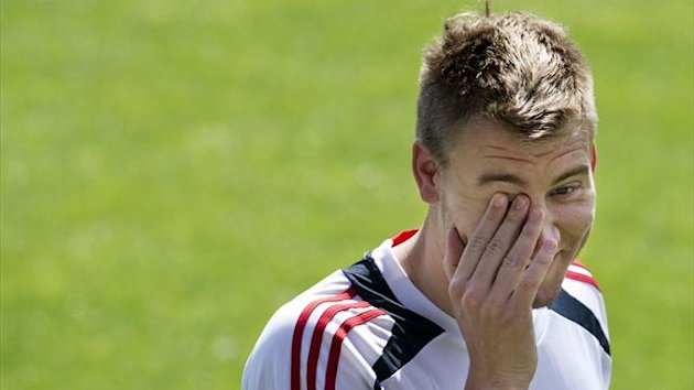 Danish player Nicklas Bendtner takes part in a training session on June 15, 2012 in Kolobrzeg, two days before their Group B match against Germany during the Euro 2012 football championships