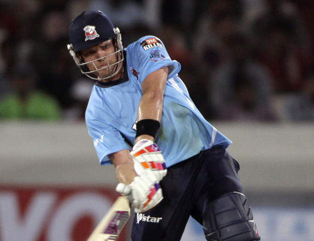 In this Sept. 20, 2011 file photo, then Auckland player Lou Vincent plays a shot during the Champions League Twenty20 cricket qualifying match between Somerset and Auckland in Hyderabad, India. Former