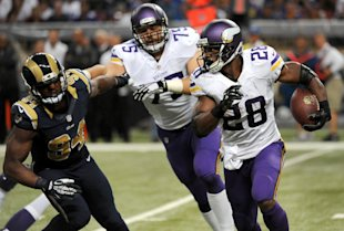 Adrian Peterson has only appeared in the Vikings' opener this season. (AP)