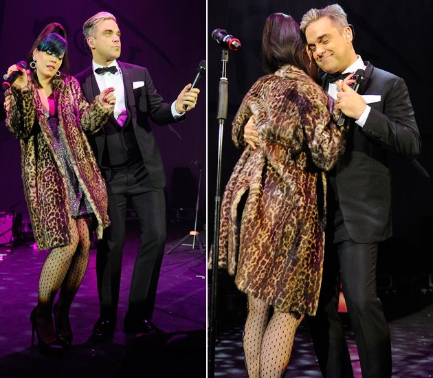 Lily Allen und Robbie Williams rückten in London gaaaaanz nah aneinander (Bilder: ddp Images)