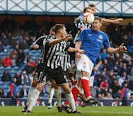 Kevin Kyle, right, was on target with the second goal for Rangers
