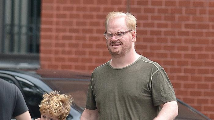 Jim Gaffigan walks with his son