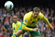 Norwich City's English striker Grant Holt (right) heads the ball during an English Premier League football match. The club's chief executive David McNally plans to target European bosses in his search for a right man to replace manager Paul Lambert