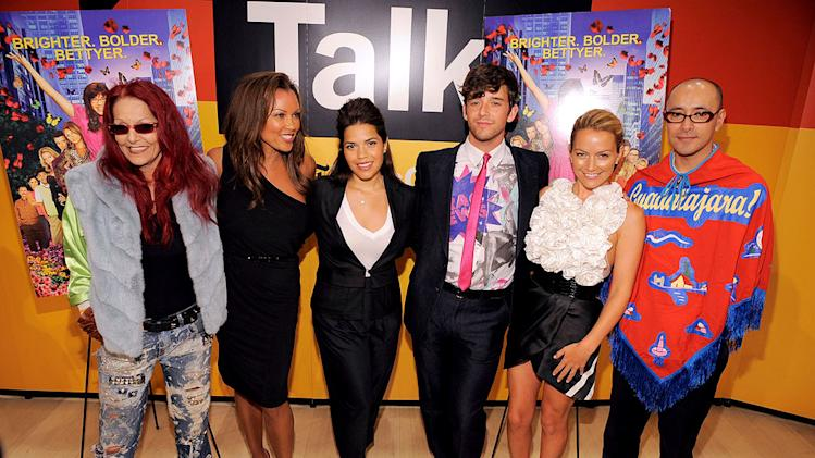 Fashion designer Patricia Field with actors Vanessa Williams, America Ferrera, Michael Urie, Becki Newton and designer Horatio Silva attend TimesTalks: An Evening With Ugly Betty at TheTimes Center on October 12, 2009 in New York City.