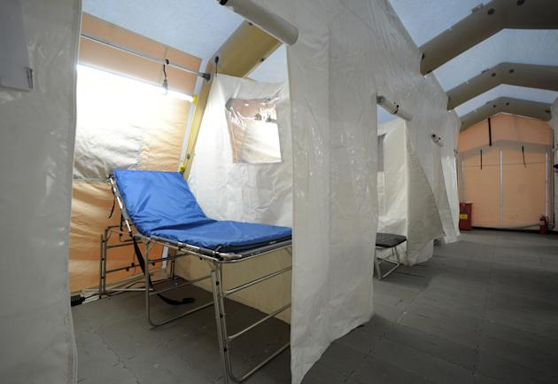 This Monday, Jan. 7, 2013 photo shows a tent prepared for expected flu patients outside of the Emergency Room at Lehigh Valley Hospital at Cedar Crest, in Salisbury Township, Pa. The tent was set up a
