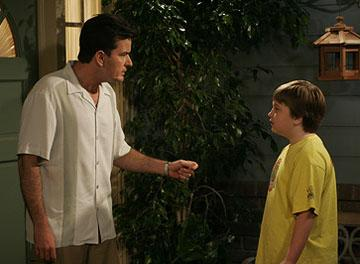 "Charlie Sheen and Angus T. Young CBS' ""Two and a Half Men"""
