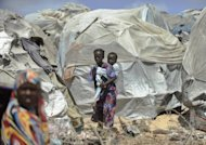 Internally displaced Somali children are seen at their camp in the war-torn capital, Mogadishu
