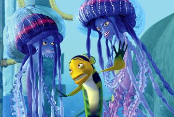 Oscar ( Will Smith ) is intimidated by Ernie and Bernie ( Doug E. Doug and Ziggy Marley ) in Dreamworks' Shark Tale