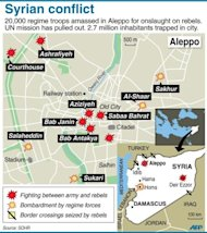 A map of Syria and Aleppo shows the country's latest fighting