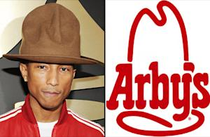"Pharrell Williams in a ""Roast Beef"" With Arby's Restaurant Over 2014 Grammys Hat"