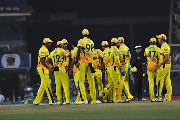 Chennai Super Kings players celebrates after taking wicket against Brisbane Heat during CLT20 Match at JSCA Stadium in Ranchi on Sept. 28, 2013. (Photo: IANS)
