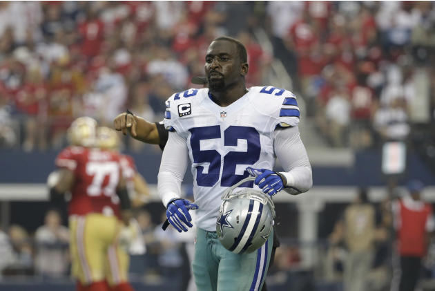 Dallas Cowboys outside linebacker Justin Durant (52) walks off the field after a play in the first half of an NFL football game against the San Francisco 49ers, Sunday, Sept. 7, 2014, in Arlington, Te
