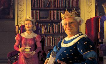 Queen Lillian ( Julie Andrews ) and King Harold ( John Cleese ), Shrek's in-laws, in Dreamworks' Shrek 2