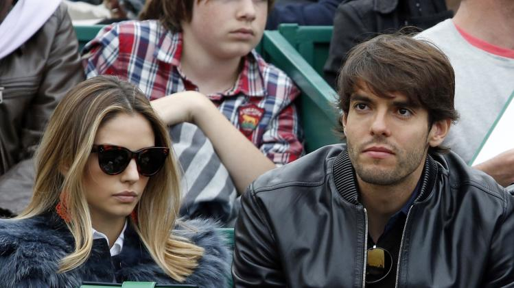 Brazil's soccer player Kaka and his wife Celico attend the final tennis match of the Monte Carlo Masters in Monaco