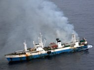 97 crew members were rescued from a Chinese factory fishing ship which caught fire in Antarctica