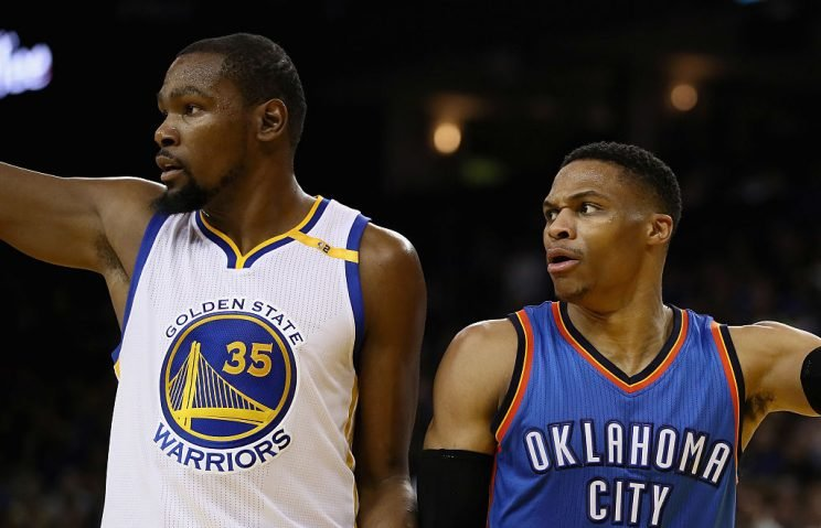 The second matchup between Kevin Durant and Russell Westbrook went in the former's favor again. (Getty Images)