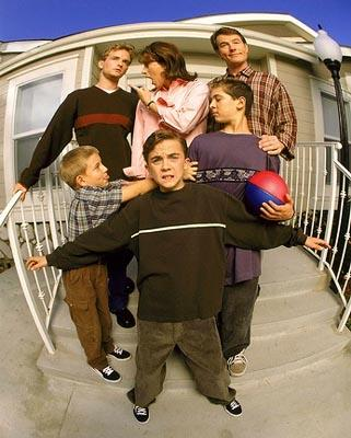 Clockwise from top left: Christopher Masterson, Jane Kaczmarek, Bryan Cranston, Justin Berfield, Frankie Muniz, Erik Per Sullivan in  Fox's Malcolm In The Middle