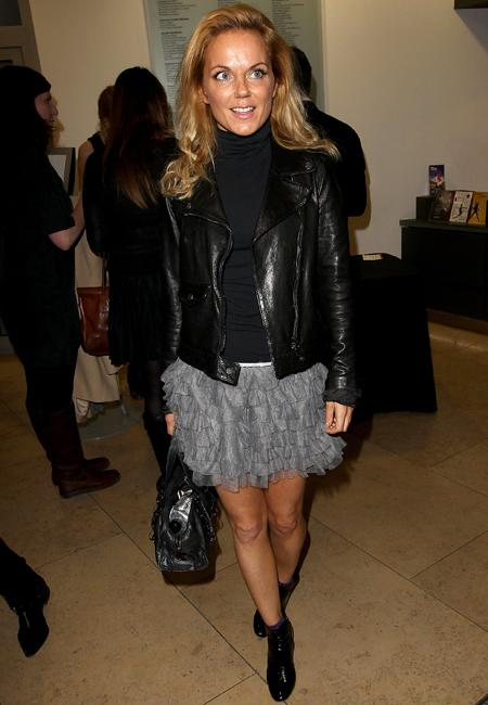 Celebrity fashion: Geri Halliwell's tired silver tutu skirt has revived last year's ballet trend and we like it. She put the ultra girlie trend in its place adding smart ankle boots, a black roll neck