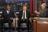 "In this photo provided by CBS, Magic Johnson, left, and Larry Bird, center, talk with host David Letterman about their friendship and their rivalry on the court, on the set of ""Late Show with David Letterman,"" Wednesday, April 11, 2012, in New York. (AP Photo/CBS, Jeffrey R. Staab) MANDATORY CREDIT ARCHIVE OUT NORTH AMERICAN USE ONLY"