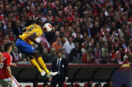 Juventus' Paul Pogba tries to control the ball during their Europa League semi-final first leg soccer match against Benfica at Luz stadium in Lisbon
