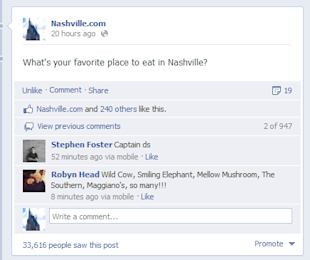 The 15 Best Facebook Posts Ever Written image Nashvilledotcom Restaurant Survey Post