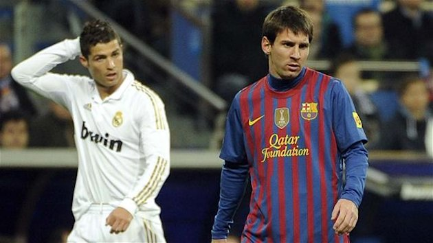 "Real Madrid's Cristiano Ronaldo and Barcelona's Lionel Messi during the Spanish Cup ""clasico"" on January 18, 2012"