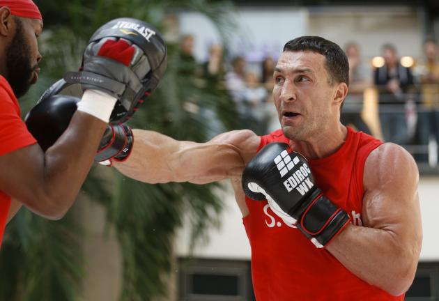 Ukrainian heavyweight boxing world champion Klitschko attends a public training session at a shopping mall in Oberhausen
