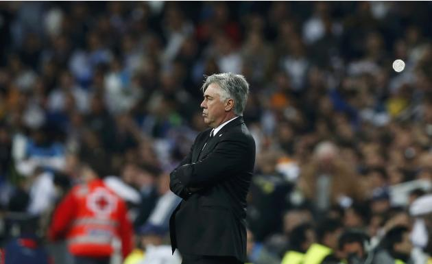 Real Madrid coach Carlo Ancelotti watches his team play Bayern Munich in their Champions League semi-final first leg soccer match at Santiago Bernabeu stadium in Madrid