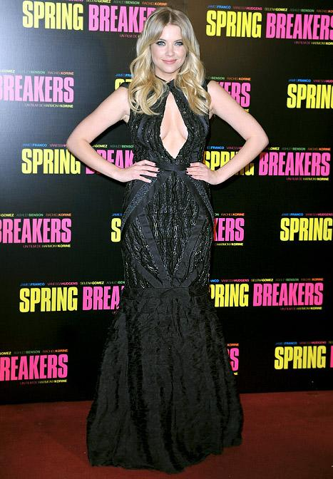 Ashley Benson Flaunts Cleavage in Sexy Gown at Spring Breakers Premiere