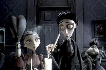 Victoria (voiced by Emily Watson ) and Victor (voiced by Johnny Depp ) from Warner Bros. Pictures' stop-motion animated film Tim Burton's Corpse Bride