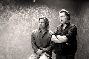 Brad Pitt and Chanel No. 5 commercial director Joe Wright shot by Sam Taylor Wood