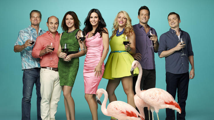 """Cougar Town"" -- Brian Van Holt, Ian Gomez, Christa Miller, Courteney Cox, Busy Philipps, Josh Hopkins & Dan Byrd"
