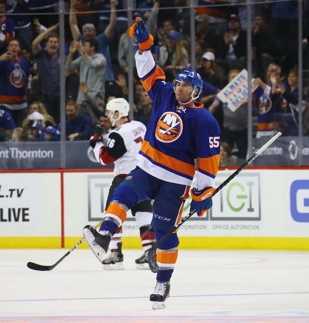 NEW YORK, NY - OCTOBER 21: Johnny Boychuk #55 of the New York Islanders celebrates his shorthanded goal at 4:24 of the third period against the Arizona Coyotes at the Barclays Center on October 21, 2016 in the Brooklyn borough of New York City. (Photo by Bruce Bennett/Getty Images)
