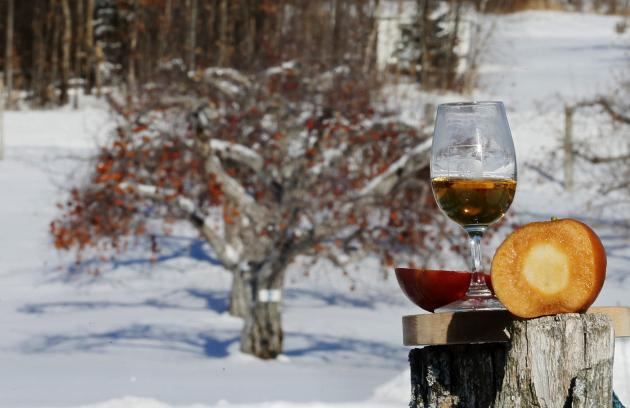 An apple is sliced to show the caramel colour used for the Signature Reserve Speciale Ice Cider at Domaine Pinnacle in Frelighsburg, Quebec