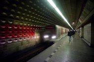 A subway train arrives at Staromestska station in Prague, Czech Republic on November 9, 2012. A Czech woman beat the odds this week in the Prague underground when she fell under an oncoming train but then crawled out from between carriages unscathed, police said Tuesday