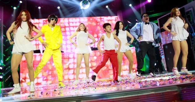 "Teddy Corpuz, Jugs Jugueta, Bugoy Carino, and the Sexbomb Girls in ""It's Showtime"" talent showdown"