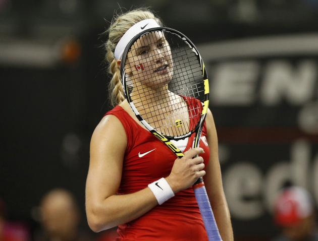 Canada's Bouchard reacts after losing a point against Slovakia's Kucova during their Fed Cup tennis match in Quebec City