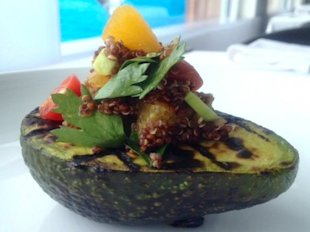 The grilled avocado with quinoa salad is perfect either as a vegetarian side or as a healthy meal on its own.