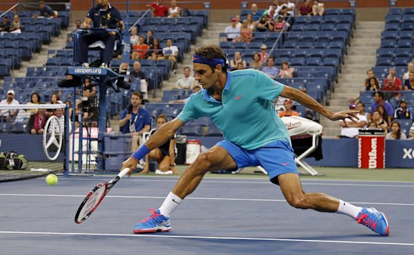 Neither rain, nor lightning, nor empty stands, nor Marcel Granollers could stop Roger Federer Sunday at the U.S. Open