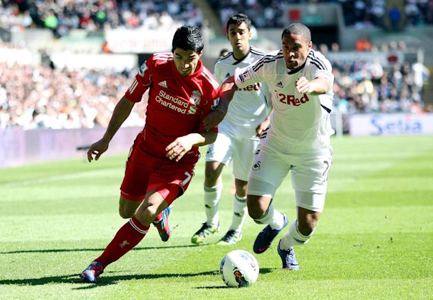 Ashley Williams, right, criticised Liverpool striker Luis Suarez, left