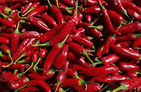 A batch of freshly picked red peppers is pictured near Batya