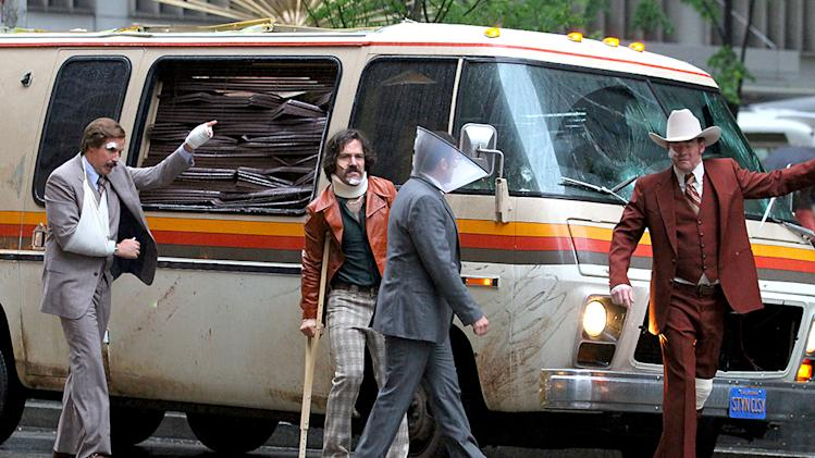 "Paul Rudd, Steve Carell, David Koechner and Will Ferrell sport some bruises and bandages on the set of ""Anchorman: The Legend Continues"" in Manhattan, NYC"